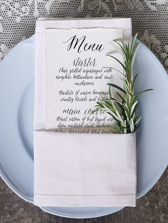 Wedding Menu Printable Template  Calligraphy Script by 3EggsDesign