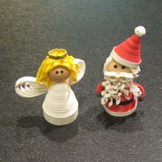 Sweet lil 3D quilled Santa and Angel!