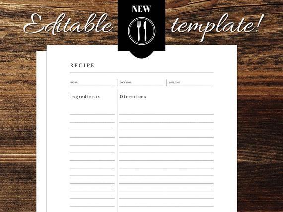 Minimalist Editable Recipe Template 8 5 X 11 Cookbook Template Printable Cookbook Kitchen Printables Recipe Template Words Recipes