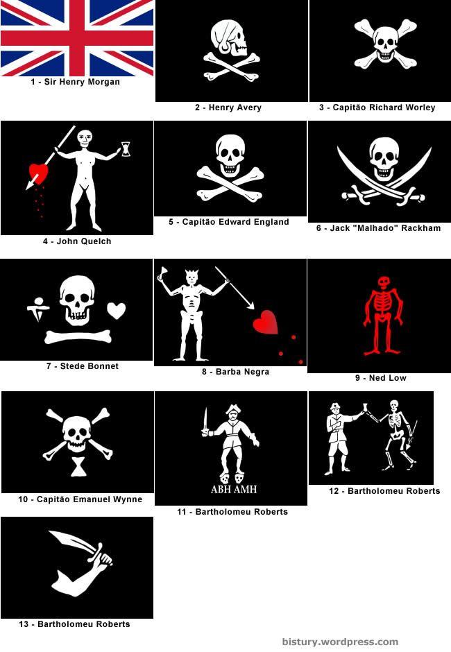 Banderas Jolly Roger utilizadas por diferentes piratas.  Podían cambiar los diseños, pero el cráneo y las tibias cruzadas fueron siempre un recordatorio de peligro.