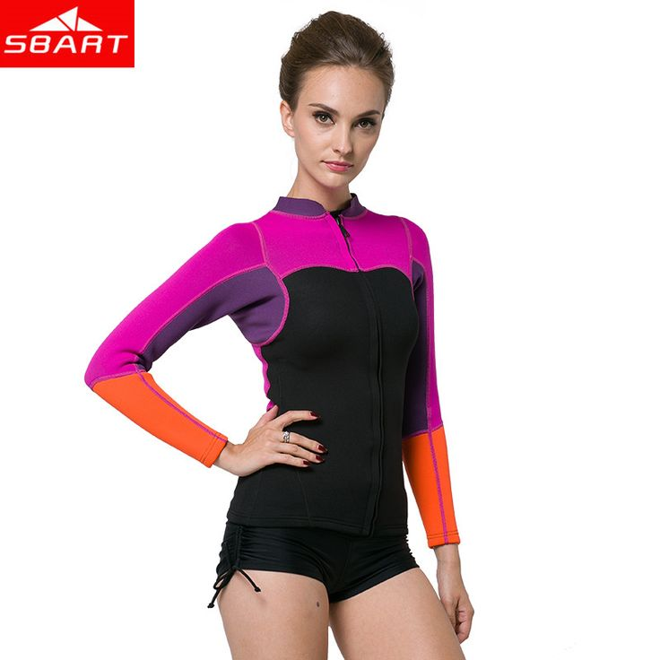 SBART New 2017 2MM Neoprene Swim Wetsuit Shirt Women Long Sleeve Swim Shirts Kiteboard Surfing Neoprene Swimming Diving Wetsuits #Affiliate