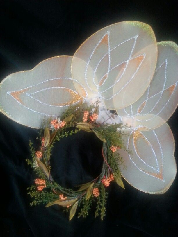 MUSTARDSEED - Fairy featured in Shakespeare's Midsummer's Night.   OOAK wreath of autumnal colours paired with handpainted wings.  $35
