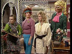 Acorn Antiques Year 1986. Victoria Wood as Bertha. Julie Walters as Mrs Overall. Cellia Imrie as Miss Babs. Rose Collins as Trixie.  Wonderful comedy by some of the best actress we have in the UK.