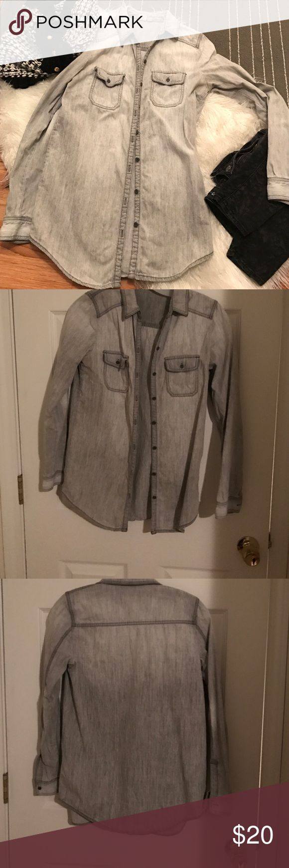Grey distressed chambray shirt Preloved gray chambray shirt. 100% cotton. This is stiff chambray. BP brand from Nordstrom. Reasonable offers accepted. bp Tops Button Down Shirts