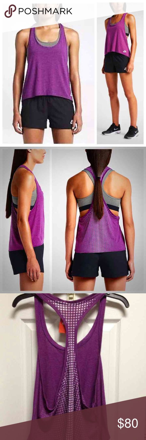 🆕 [Nike] Burnout Tank + Sports Bra NWT Nike Burnout Workout Tank in Purple/White Polka Dots. Size Large. Retail $50.  NWT Nike gray/black sports bra just like in stock photo. Size XL. Retail $30. Selling because it's a little bit more tighter on me than what I expected.  Price is Firm. Must purchase as bundle. Will not separate. Thanks! Nike Tops Tank Tops