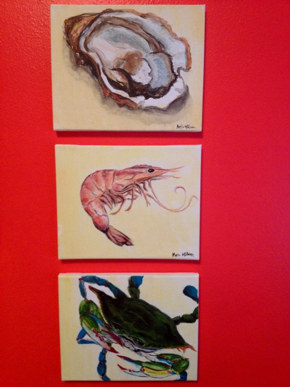Oyster, shrimp and blue crab paintings acrylic on canvas
