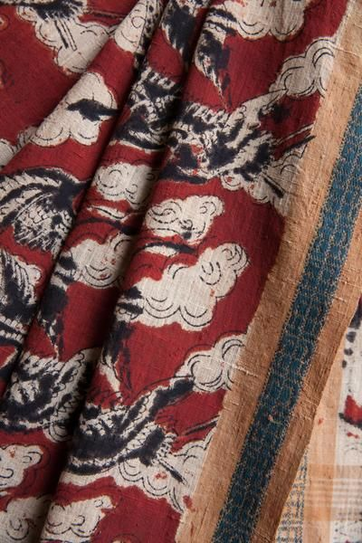 Red Saree with Cloud Crane Kalamkari Print