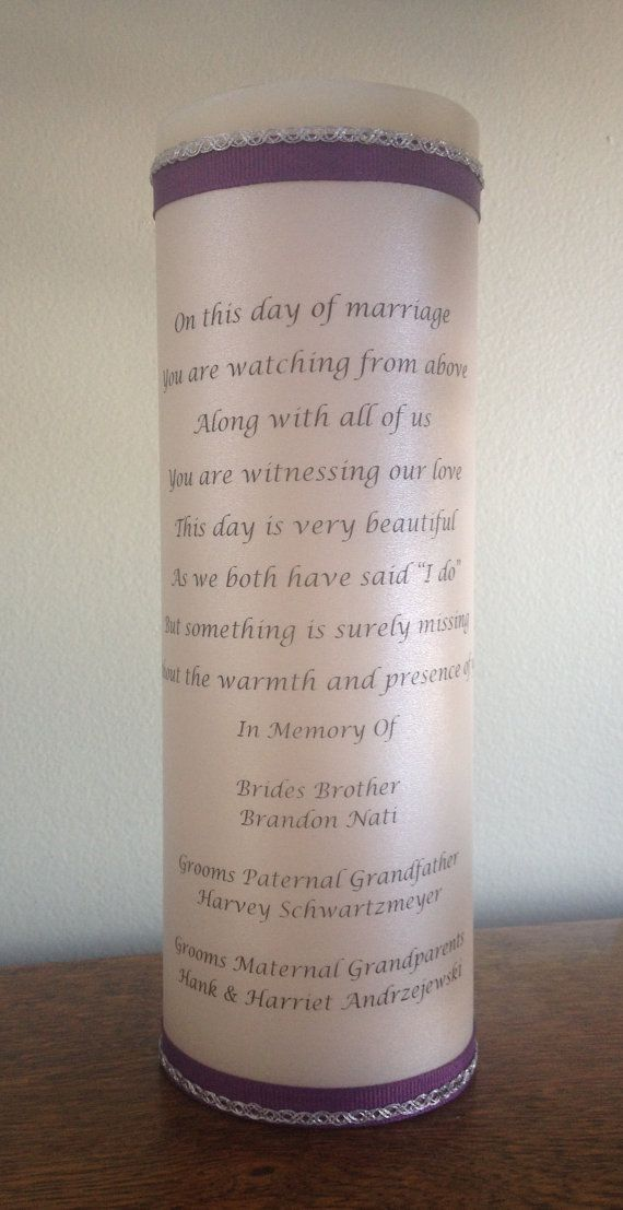 Wedding Unity or Memory Candle Customized 3x9 by vineyardridge