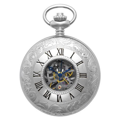 """Gotham Men's Silver-Tone Mechanical Pocket Watch with Desktop Stand # GWC14040S-ST Gotham. Save 58 Off!. $99.95. Arrives in beautiful presentation box with Selvyt polishing cloth, lifetime limited warranty and operating instructions. Rich antique style blue cobalt hour, minute and seconds hands plus scratch resistant mineral crystal. Classic and elegant silver-tone 17 jewel mechanical double cover exhibition pocket watch with Roman numeral design. Includes matching 15"""" curb pock..."""