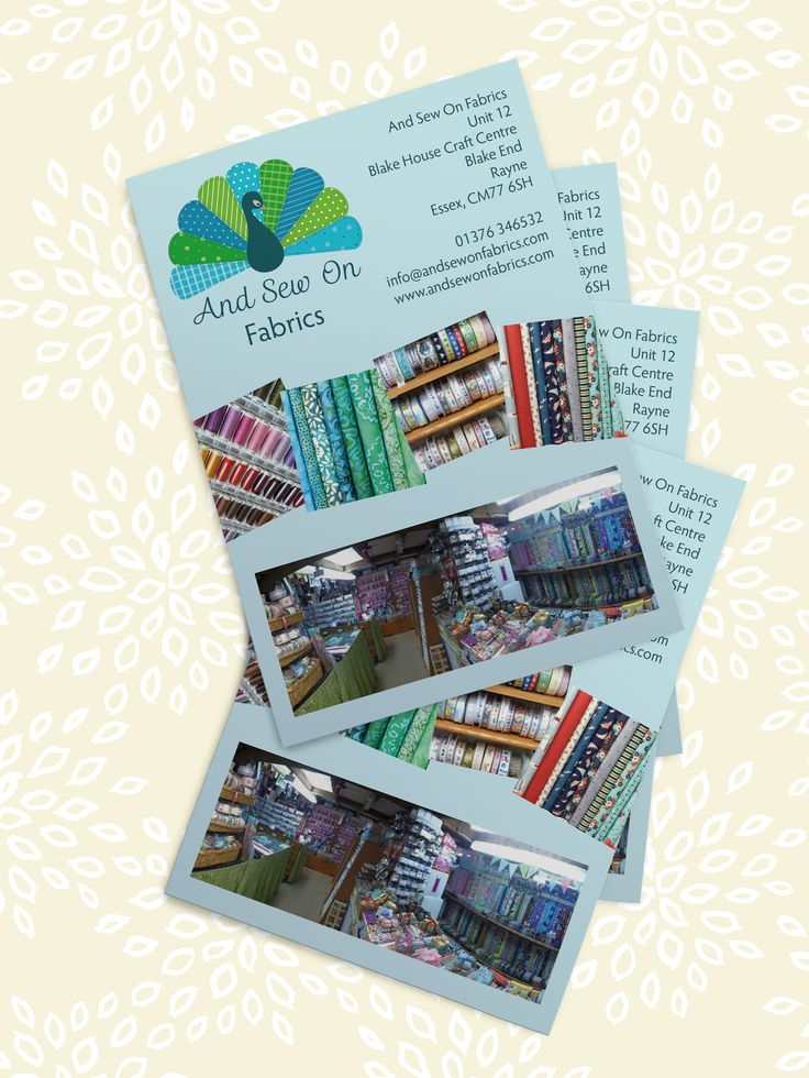 And Sew On Fabrics leaflets mockup by Amber Phillips Design