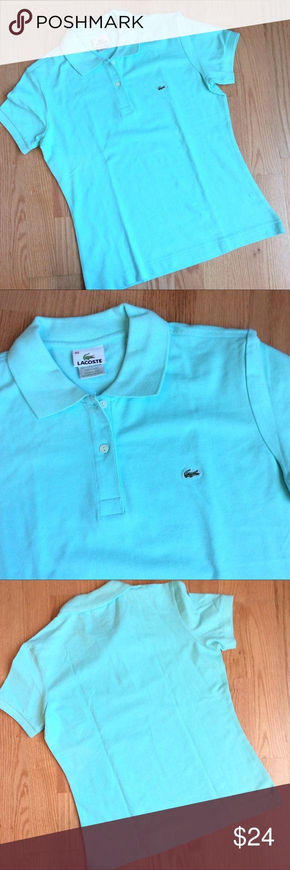 "- Lacoste - classic fit pique polo shirt Short sleeve, Size 40, ribbed collar and armbands, fabric is 94% cotton and 6% elastanne, length 23"" chest 18"" Lacoste Tops"