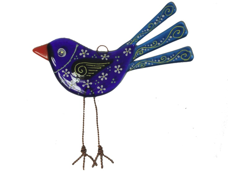 Large Fused Glass Bird Suncatcher.