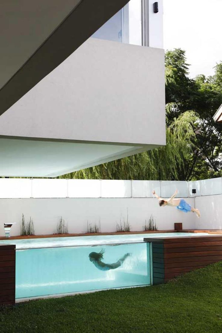 Pin modern pool design on pinterest - Modern Glass Wall Pool Innovative Swimming Pool Design Made For Contemporary House Home Design