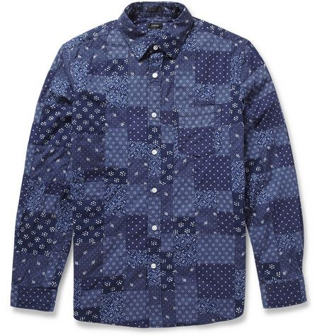 Indigo patchwork shirt by J.Crew