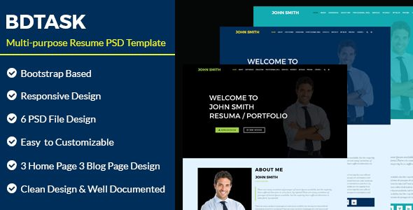 cool BDTASK- Multi Objective Resume PSD Template (PSD Templates)