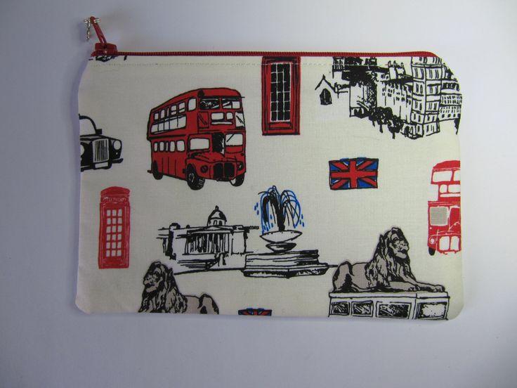 London Landmarks Zipper Bag, Cosmetic Purse, British Invasion White Makeup Bag, Zip Purse, Riley Blake, London by BobbyandMeSew on Etsy