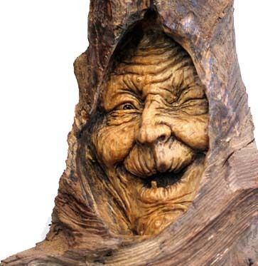 carved tree witch. So cool