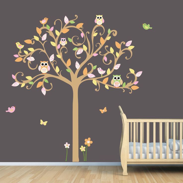 Owl Wall Decals Name Decal Childrens Scroll Tree Owls