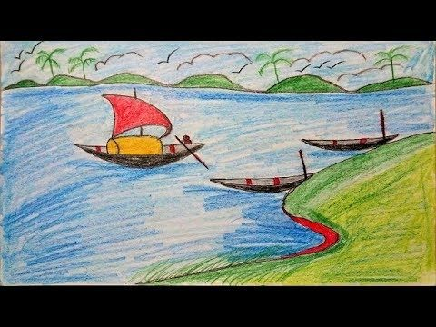 How to Draw Scenery of Village River with Boat Landscape | Drawing Villa...