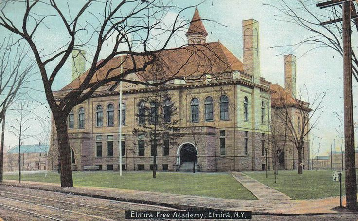 Former Elmira Free Academy at the corner of Lake and East Clinton Street, circa 1900. Now the location of Ernie Davis Middle School