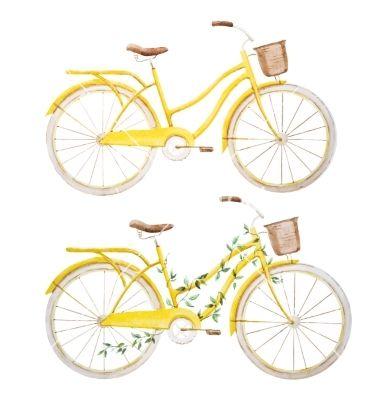 Watercolor bike retro yellow bicycle vector - by Zenina on VectorStock®