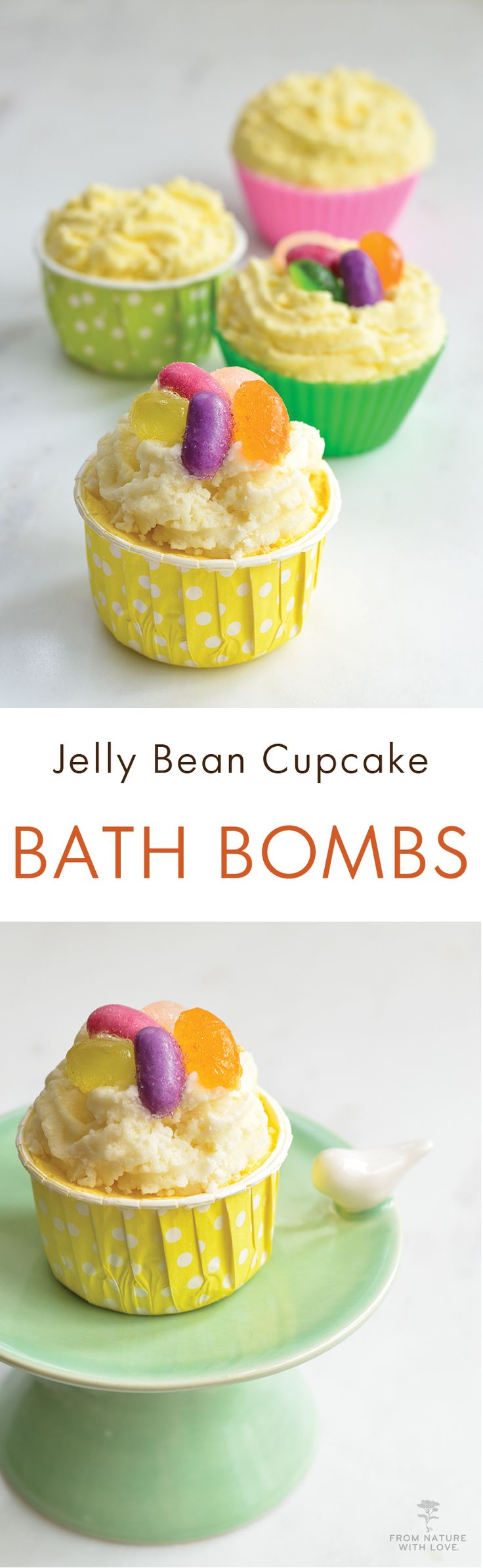 These adorable Jelly Bean Cupcake Bath Bombs include three components, a fizzy milk bath base, a layer of moisturizing Cocoa and Cupuacu Butters, and a colorful glycerin soap topping. We scented this recipe with our luscious Lemon Drop Plant-Based Fragran