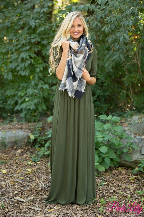 This gorgeous and versatile maxi is the perfect fall dress that you'll been looking for! We love the amazingly soft olive fabric paired with the comfortable 3/4 sleeves - it's a knockout combination!