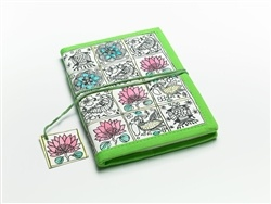 Hand block-printed journals with a lotus motif and 100% tree-free pages inside. Also available in blue.