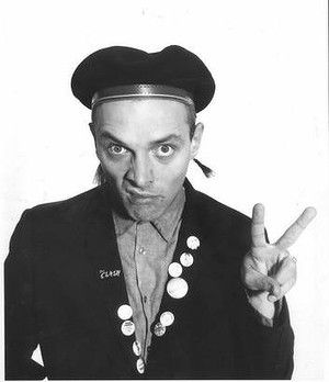 Young One's Rik - beret and badges on blazer lapel politico chic