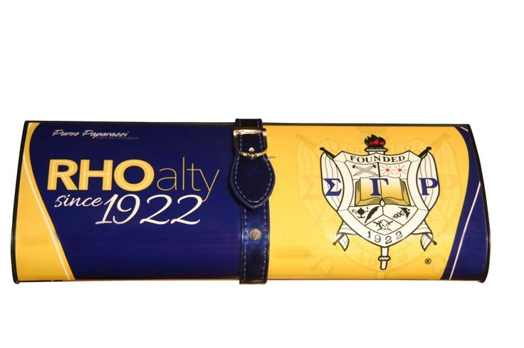 - NEW DESIGN - Custom Clutch for Sigma Gamma Rho Soroity Inc - Magnetic snap closure - Silver-tone hardware - Blue Buckle - Blue & Gold magazine clutch - Detachable chain shoulder strap - L 12 * H 4.7