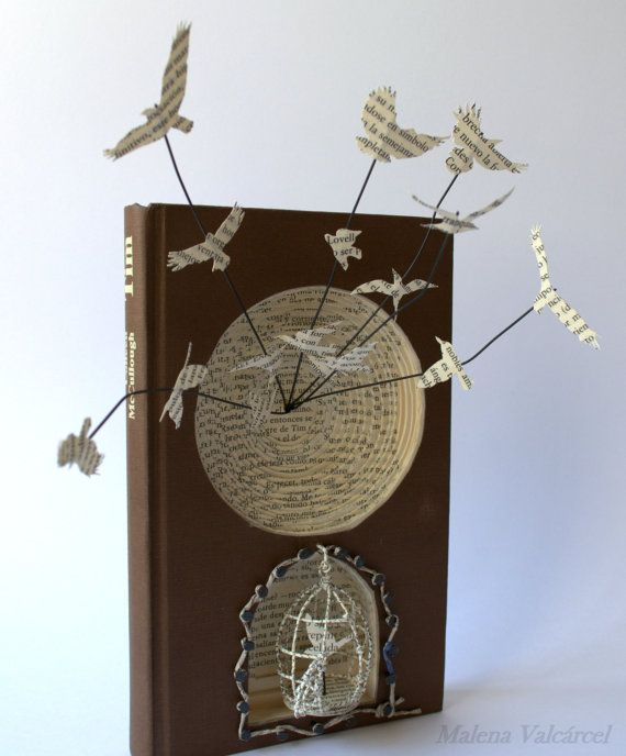 "Book Art Sculpture - Altered Book - Book Art - ""Hope"" by Emily Dickingson."