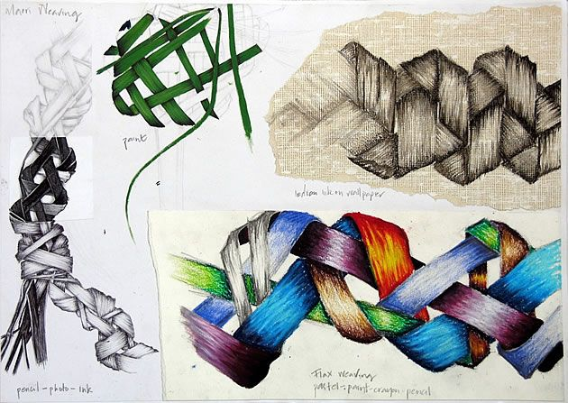 On this page of this outstanding International GCSE Art sketchbook, Manisha drew from the weaving she had made in the previous assignment. Although 'manmade' these sculptural flax pieces are crafted from natural forms. This exercise allowed Manisha to practise the blending of tone in a range of different mediums – something at which she excelled. The image on the left is particularly successful, involving a photocopy that has pieces cut away, with the gaps redrawn.