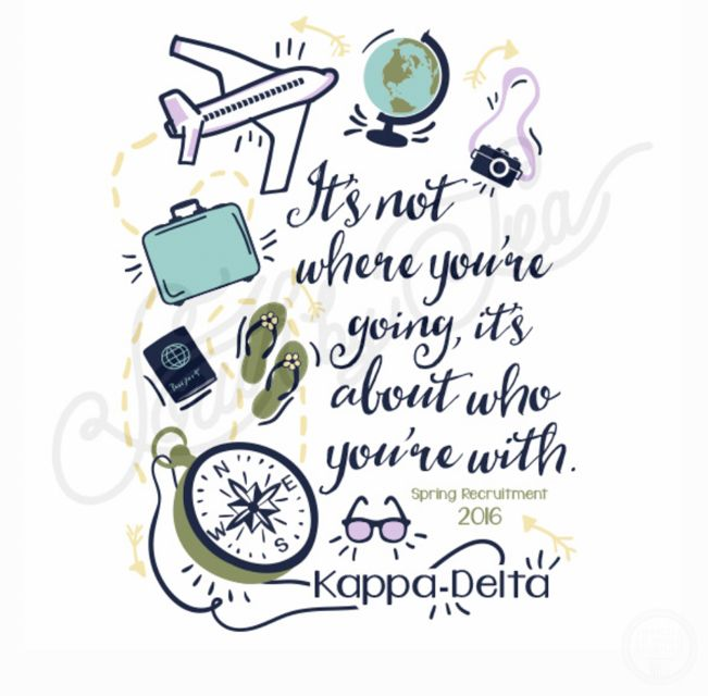 Kappa Delta | Its Not Where You're Going, its Who You're With | Spring Recruitment | KD | Recruitment Design | Travel Theme | South by Sea | Greek Tee Shirts | Greek Tank Tops | Custom Apparel Design | Custom Greek Apparel | Sorority Tee Shirts | Sorority Tanks | Sorority Shirt Designs