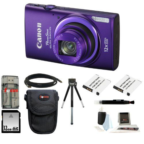 Canon PowerShot ELPH 340 HS (Purple) + 32GB Memory Card + All in One High Speed Card Reader + Two Extra Batteries + Medium Standard Digital Camera Case + Accessory Kit