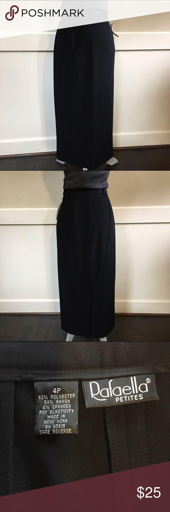 "Rafaella Black Maxi Skirt Black Maxi Skirt. Side Zip. Back Center 15"" slit. 62% Polyester 34% Rayon 4% Spandex. Size 4P. NWT Rafaella Skirts Maxi"