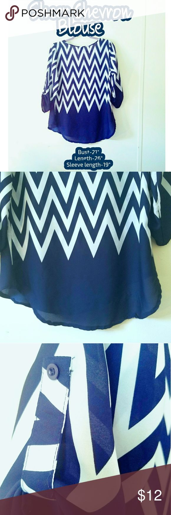 ⏬Chevron Blouse⏬ Dark blue sheer chevron blouse. Rue 21 brand. Measurements on cover picture.  ✔Negotiations welcome (reasonable)✔  🚫No trades🚫   💵Bundles get a private discount💵  ⛤I am a 5 star rated seller⛤  🚛I ship same day, next day at the lastest🚛  🚿All clothes get washed before packaging & shipment🚿 Rue 21 Tops Blouses