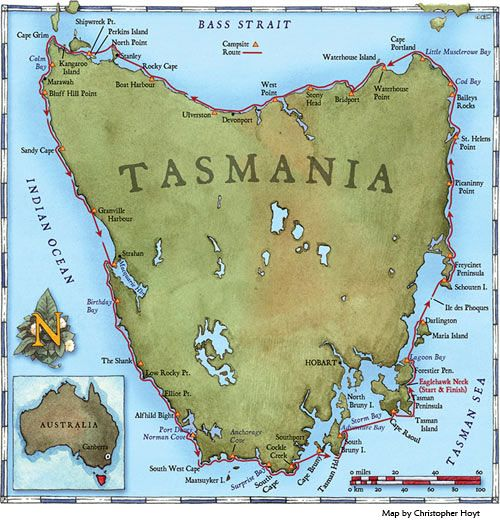 At Sea Kayaker Magazine-- Map of Tasmania showing expedition route.
