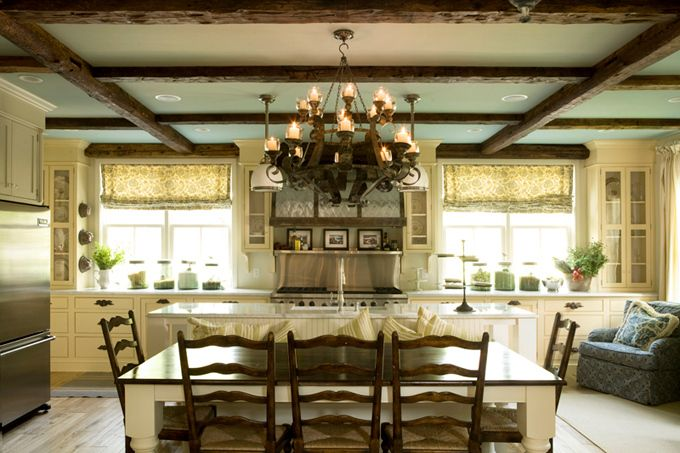 House Country House Blue Ceilings Kitchen Design Country Kitchens