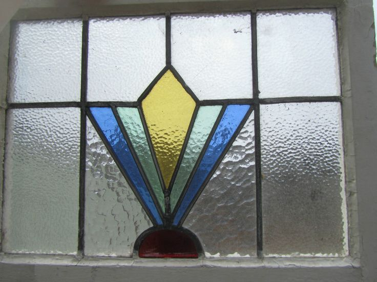 Antique Stained Glass Window Panel Leaded Vintage Art Deco 1930's Red Blue Green