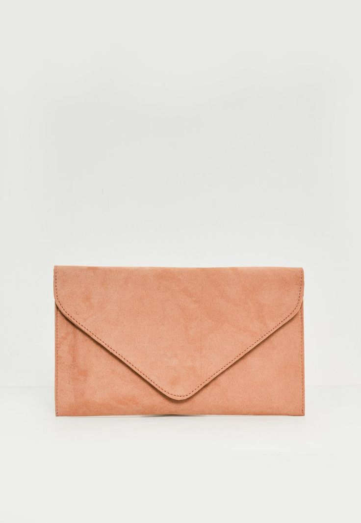 Missguided - Nude Faux Suede Clutch Bag