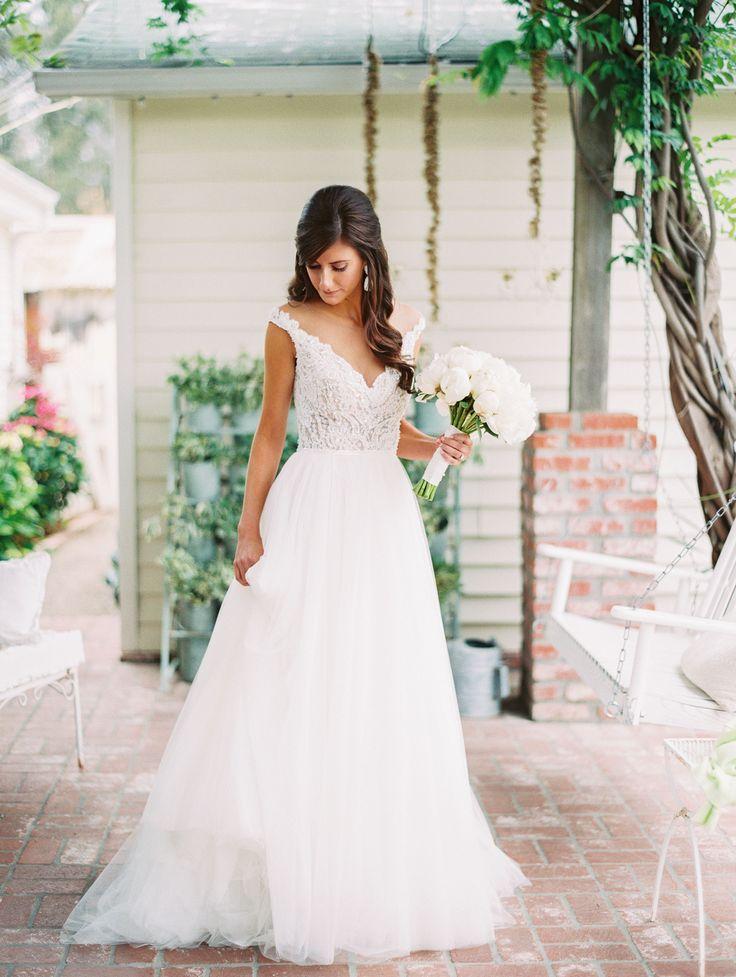 Ivory Lace V-Neck Watters Wedding Dress