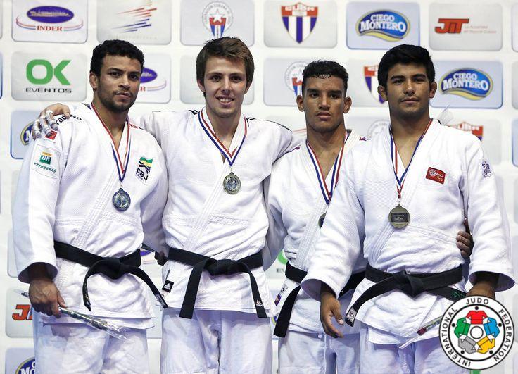 Arthur Margelidon (CAN), Alex Pombo (BRA), Magdiel Estrada (CUB), Alonso Wong (PER) - Pan American Championships Havana (2016, CUB) - © Gabriela Sabau, IJF