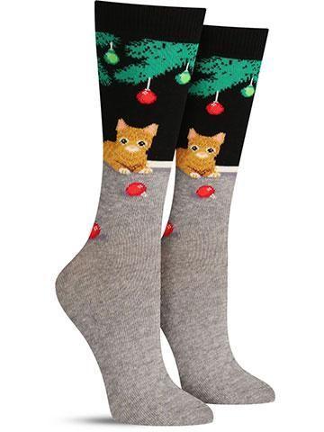 Christmas Cat Non Skid Socks | Womens