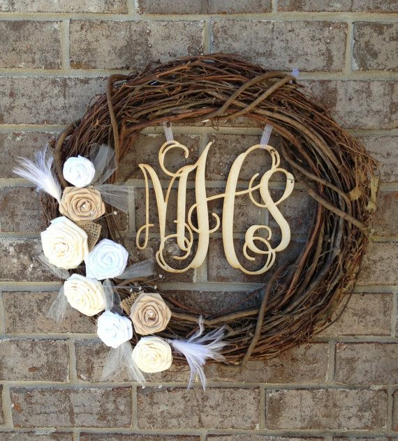 "18"" Wedding Monogram Wreath - Monogram Wreath - Wedding Wreath - Grapevine Wreath. $70.00, via Etsy."