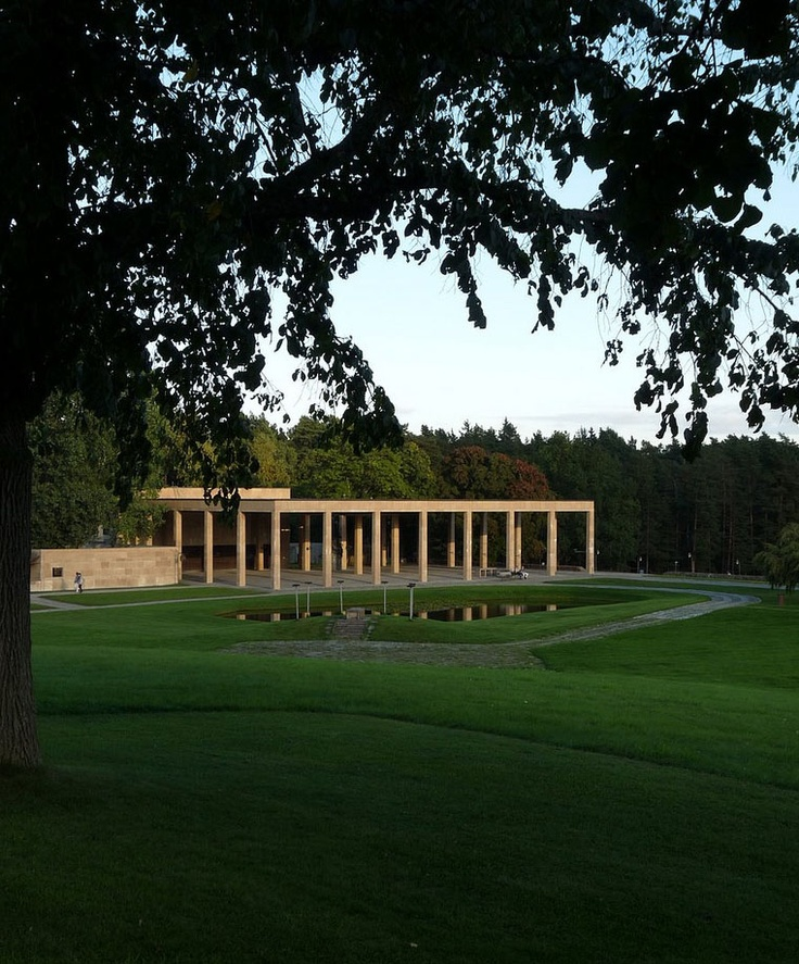 View of the portico of the Woodland Cemetery in Stockholm by Erik-Gunnar Asplund. Photo by Lady Dandelions (Flickr.com). This beautiful sited building reminds me of the work of the Prussian master architect Karl Friedrich Schinkel.