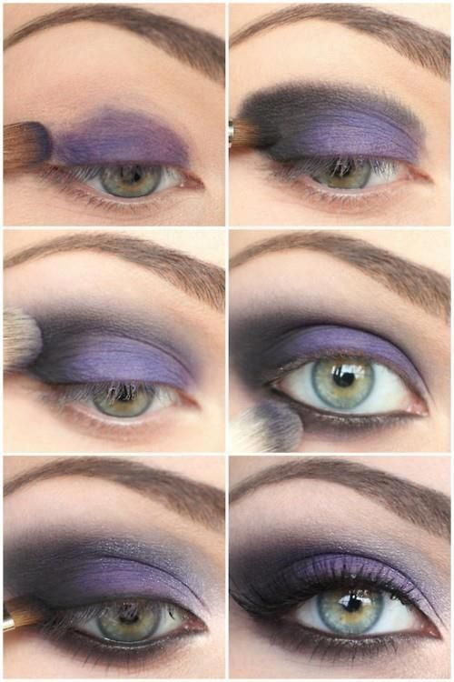Purple smoky eyes - my signature color, which just so happens to be perfect for my eye colors! This model has eyes very similar to mine. :)