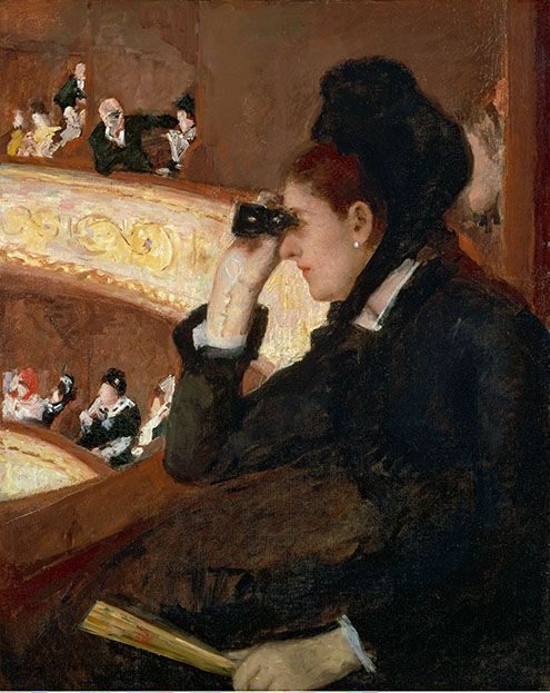 Mary Cassatt (American, 1844–1926) In the Loge, 1878 Oil on canvas; 32 x 26 in. (81.3 x 66 cm) Museum of Fine Arts, Boston, The Hayden Collection, Charles Henry Hayden Fund