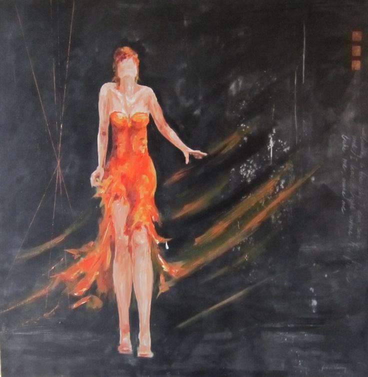 Schilderij in zwart en oranje, formaat 100x120, gemengde techniek, sterk en stoer schilderij, 3D doek, vrouw