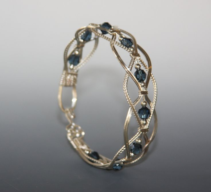 Wire wrapped bangle wire wrapped bracelet Braided by JanCramer