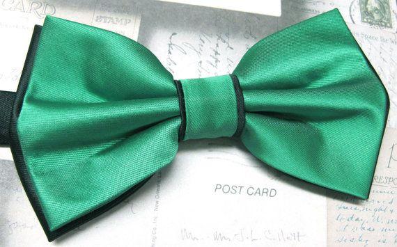 Mens Bow Ties. Kelly Green Black Bow Tie. Wedding by TieObsessed